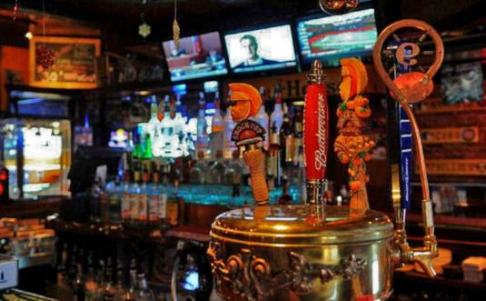 main bar and beer taps
