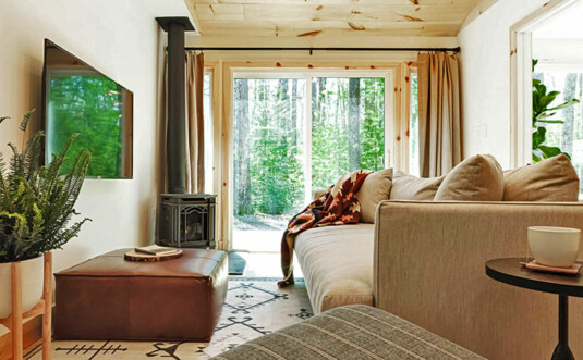 living room with fireplace overlooking the park