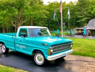 outdoor dining and vintage blue truck